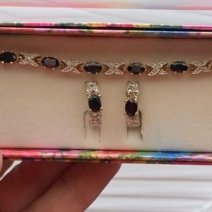 Jewelry - Safire bracelet and earrings set. NEW. 14k over SS